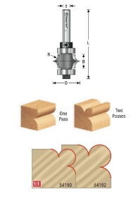 """EOASAW - Amana Tool """"Leaf-Edge"""" Beading Carbide-Tipped Router Bits"""